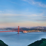 San Francisco Cityscape and Skyline and Golden Gate Bridge from the Marin Headland with Full Moon Panorama
