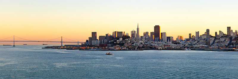 San Francisco Cityscape at Sunset with Bay Bridge.