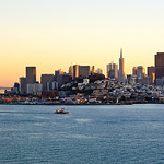 San Francisco Cityscape at Sunset with Bay Bridge.