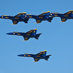 5 Blue Angel Jets in Formation.  Fleet Week San Francisco 2009