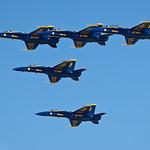 5 Blue Angel Jets in Formation.  Fleet Week San Francisco 2009