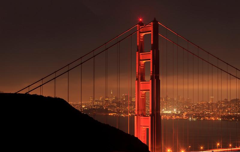 Golden Gate Bridge San Francisco Downtown Night Hi Res from Marin Headlands