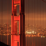Golden Gate Bridge San Francisco Downtown Night Hi Res from Marin Headlands