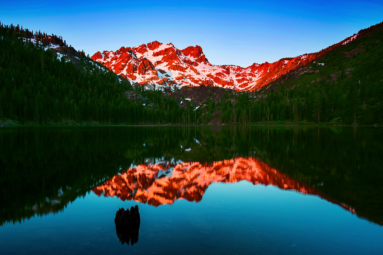 California, Lower Sardine Lake, Sunrise, Tahoe Sierra, Sierra Butte, 下沙丁湖, 加利福尼亚, 日出