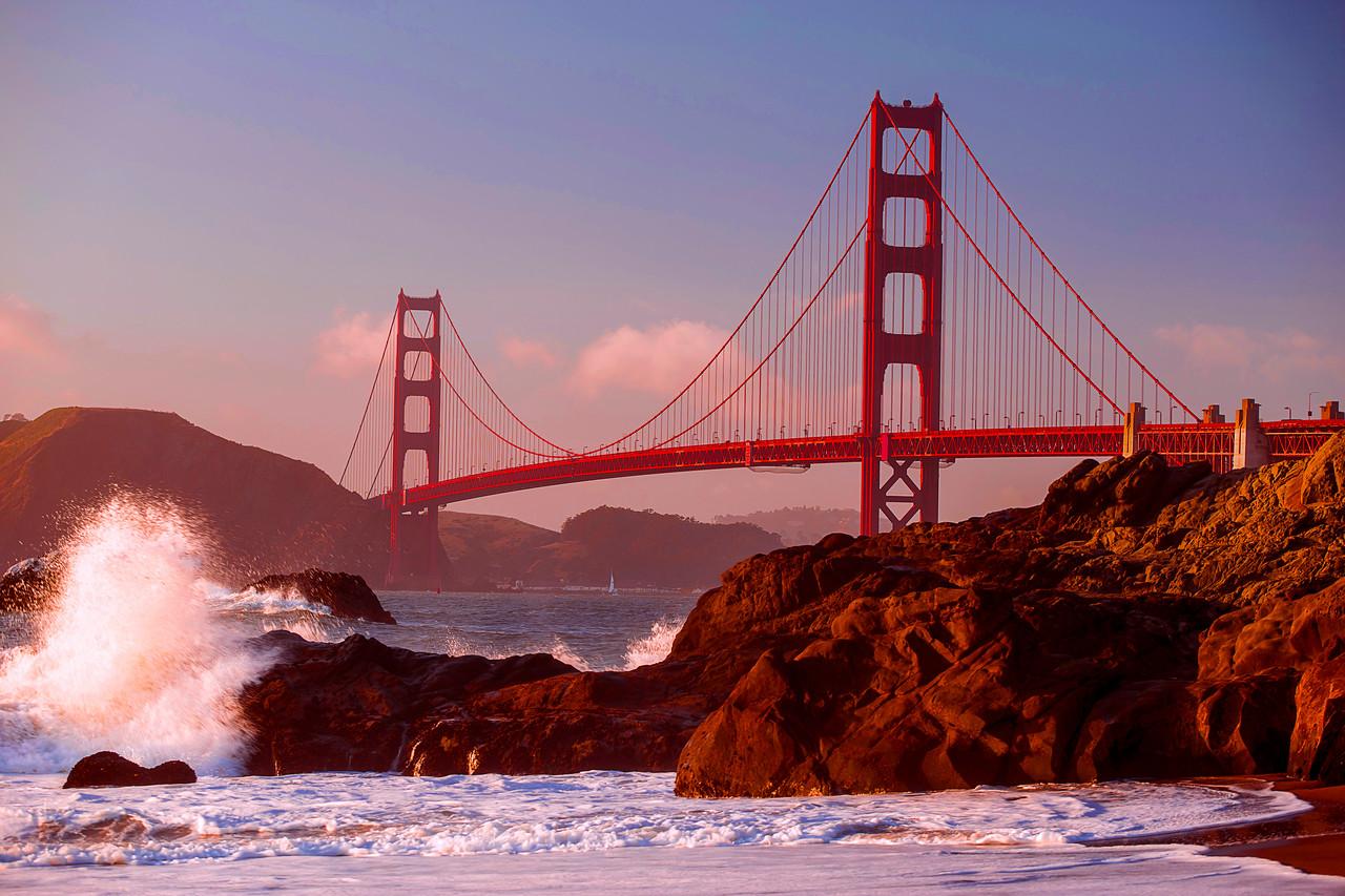 California, Golden Gate Bridge, San Francisco, Sunset, 旧金山, 落日, 金门大桥