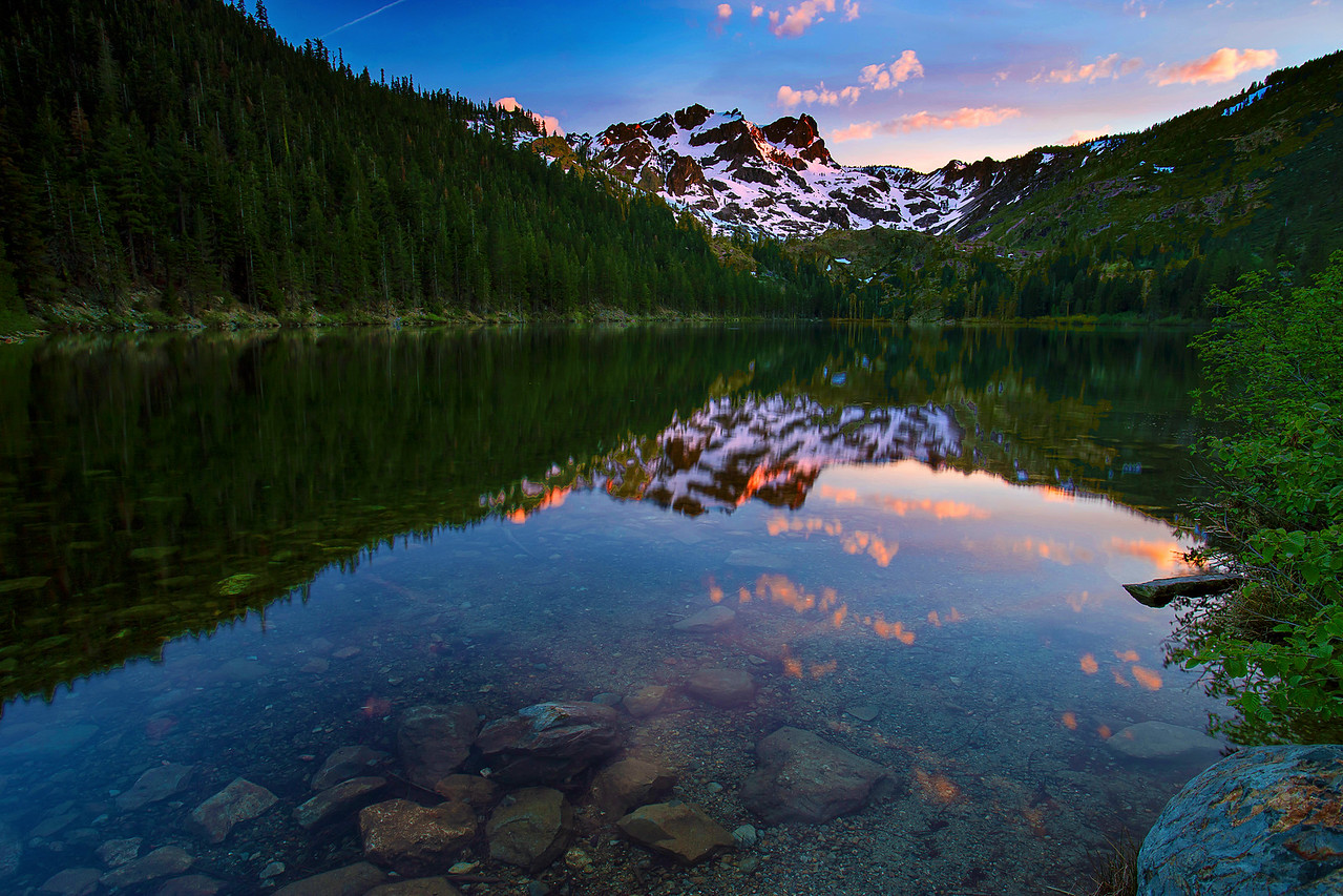California, Lower Sardine Lake, Sunset, Tahoe Sierra, Sierra Butte,下沙丁湖, 加利福尼亚, 日落
