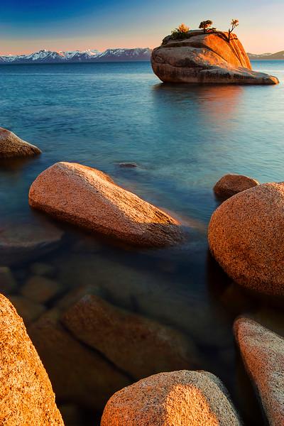 Bonsai Rock, California, Lake Tahoe, Rocks, Sand Harbor State Park, Sunset, 加利福尼亚, 太浩湖, 盆景岩, 落日