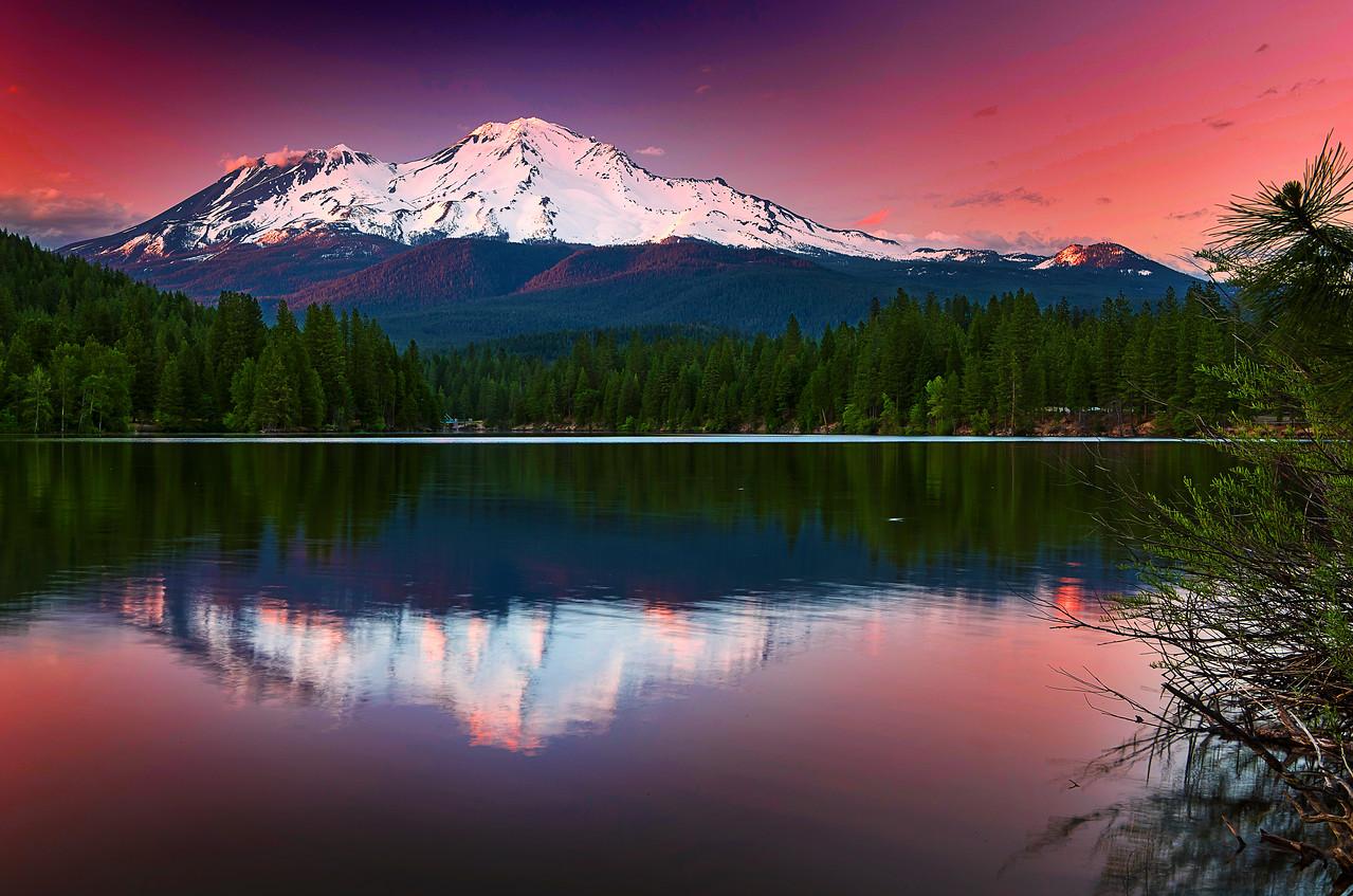 California, Mount Shasta, Siskiyou Lake, Sunset,  加利福尼亚, 沙斯塔山, 落日