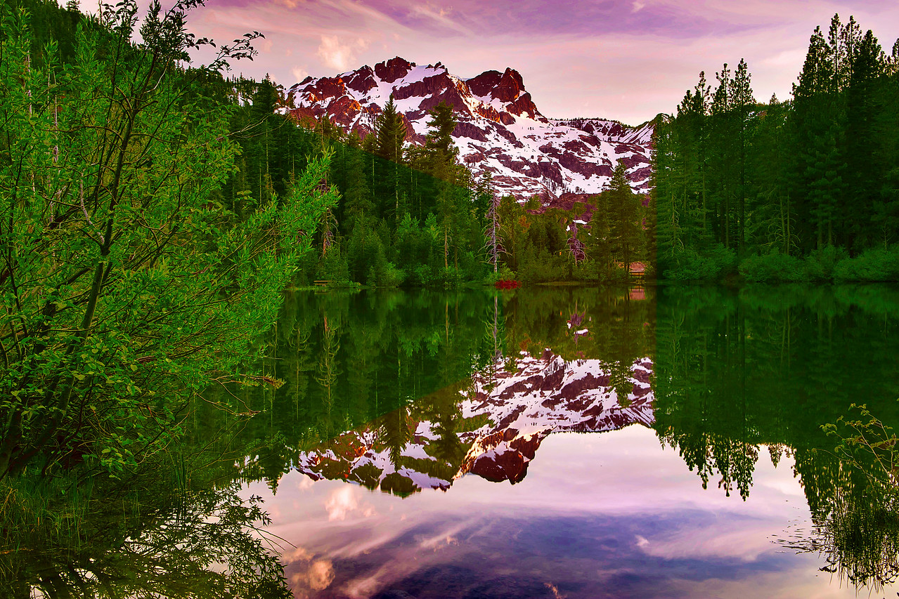 California, Sand Pond, Sunset, Tahoe Sierra, Sierra Butte,下沙丁湖, 加利福尼亚, 日落