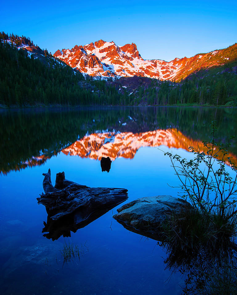 California, Lower Sardine Lake, Sunrise, Tahoe Sierra, Sierra Butte, 下沙丁湖, 加利福尼亚, 日出
