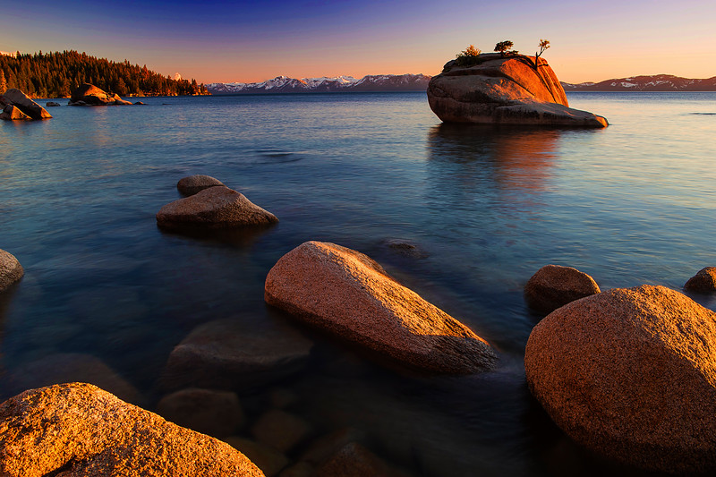 Bonsai Rock, California, Lake Tahoe, Rocks, Sand Harbor State Park, Sunset, 加利福尼亚, 太浩湖, 盆景岩, 落日