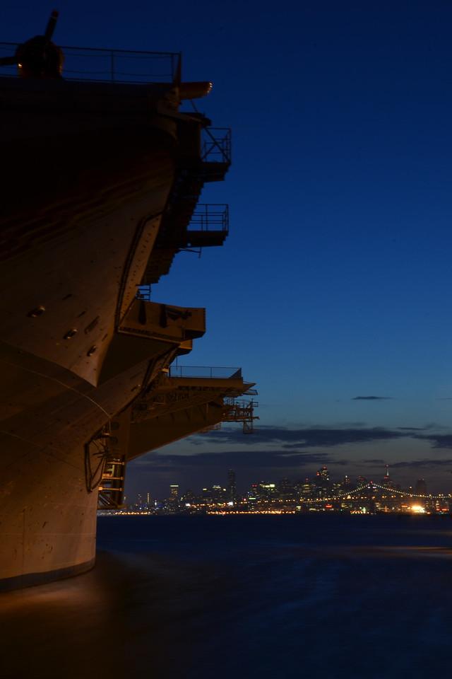 USS Hornet at dusk