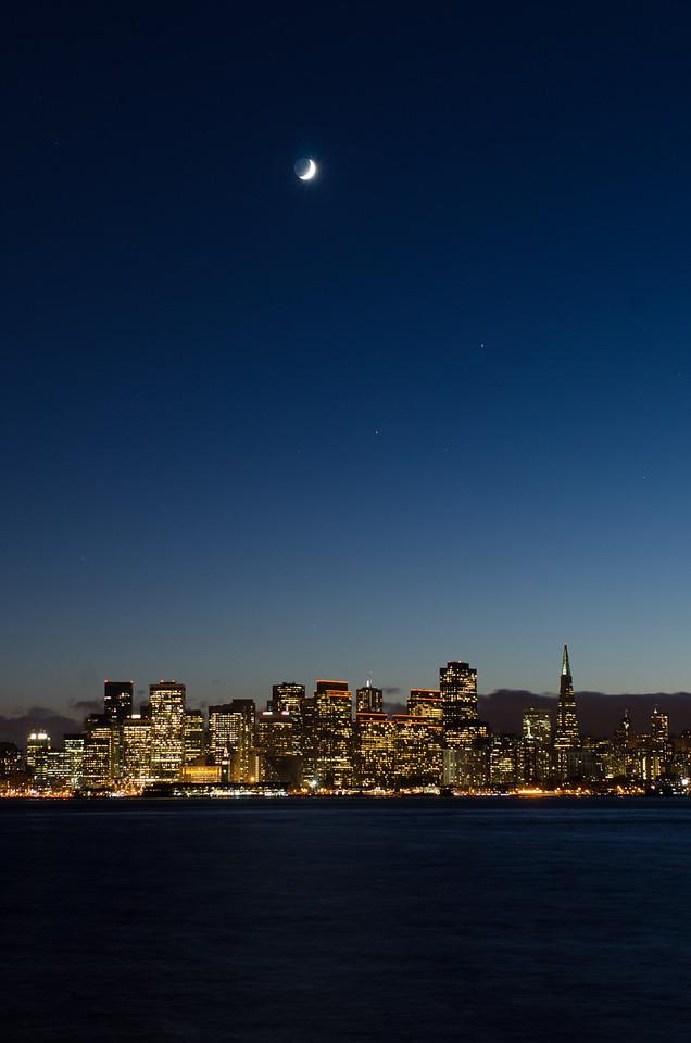 Crescent Moon over San Francisco