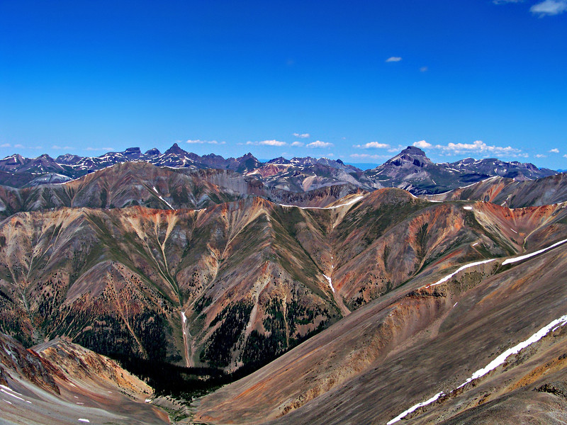 The spectacular view northwest from the summit of Sunshine Peak, Colorado San Juan Range.