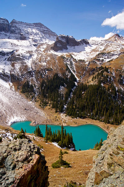 Looking down at Lower Blue Lake from the Middle Blue Lake shelf about 600 feet above;  Mt. Sneffels Wilderness; Colorado San Juan Range