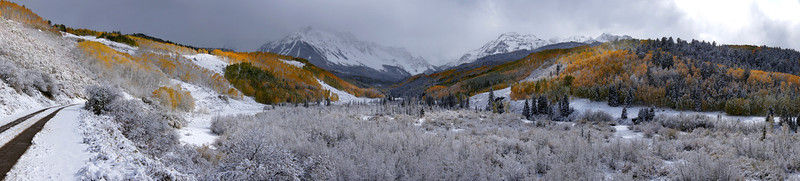 Dallas Creek road, deep in the Mount Sneffels Wilderness, after autumn's first snowfall, Colorado San Juan Range.