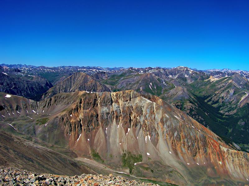 Sundog Peak and the view west from the Sunshine Peak north ridge, Colorado San Juan Range.