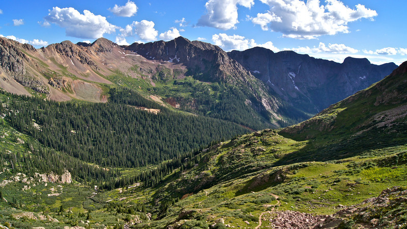 Aztec Mountain (13,310 ft.) and the Chicago Basin, viewed from the north; Colorado San Juans.