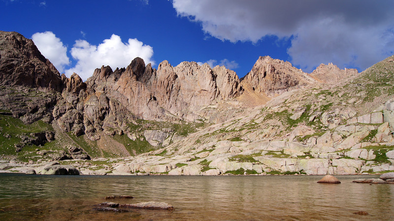 Sunlight Peak (right) and its rugged west ridge tower over Twin Lakes; Colorado San Juans.