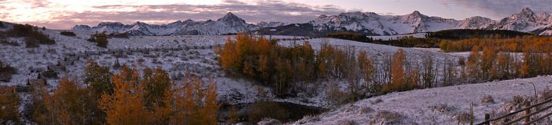 Cold autumn sunrise at the Dallas Divide, Mount Sneffels, Colorado San Juan Range.