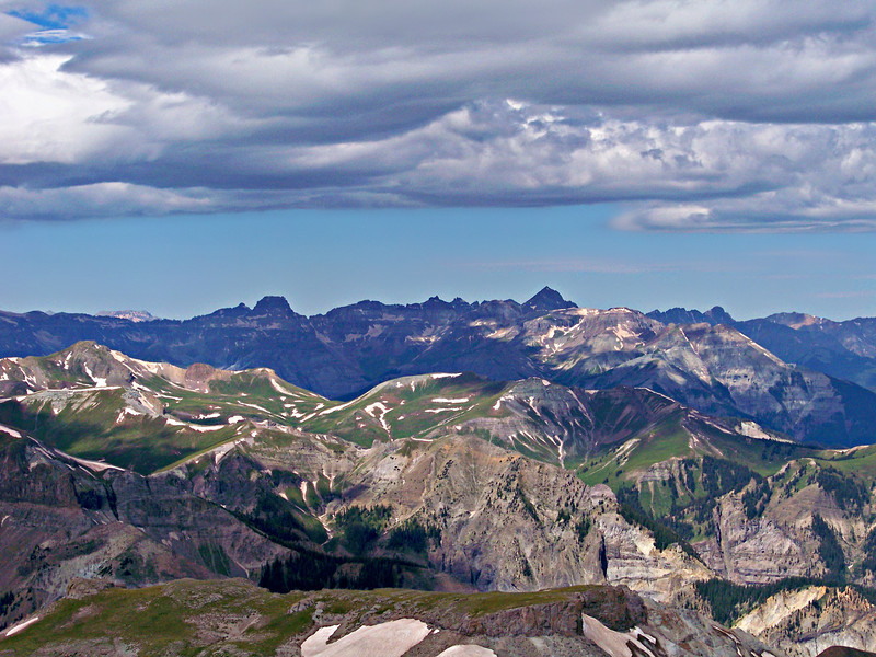 Mount Sneffels and the San Juans west from the Wetterhorn summit.
