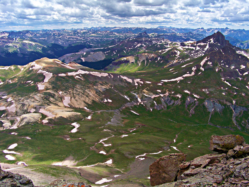 Wetterhorn Peak and the San Juan Mountains as seen from the Uncompahgre summit.