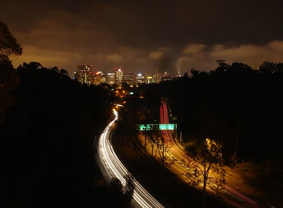 Highway 163 from the Laurel Street Bridge in Balboa Park, Looking South towards Downtown