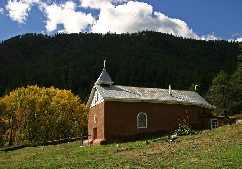 Old adobe church in the upper Pecos river valley