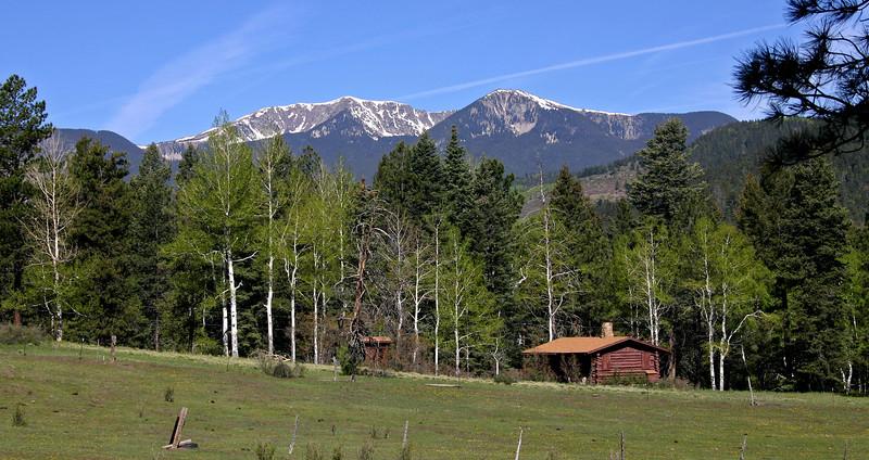 Cabin below Santa Fe Baldy in June.