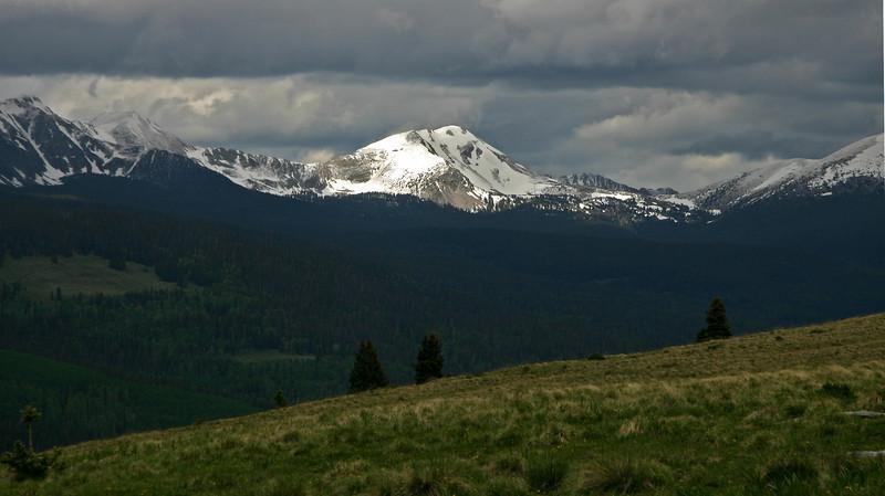 Pecos Wilderness in June - Green meadows, snowy peaks