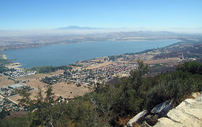 Lake Elsinore from Ortega Highway overlook. Mt. San Jacinto in background. 20 Aug 2006