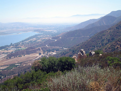 Lake Elsinore and lower Ortega Highway from Ortega Highway overlook, 20 Aug 2006