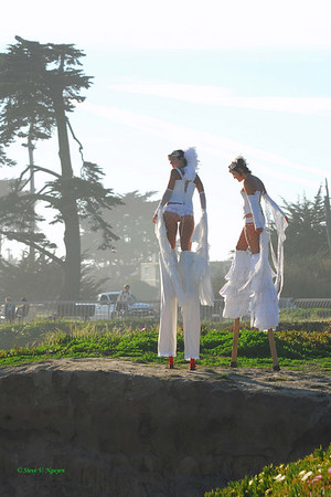 Girls on stilts!