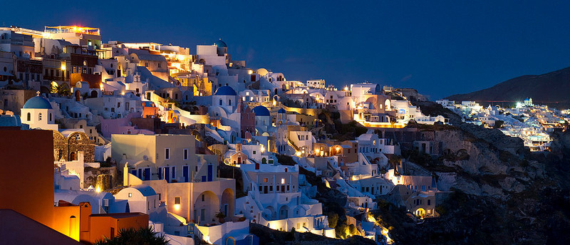 Blue Castle, after sunset in Oia, Santorini, Greece.