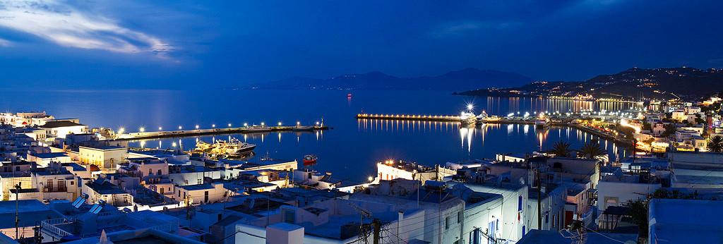 Night view of Mykonos harbour.