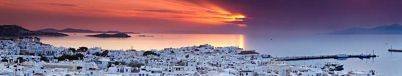 Sunset panorama view of Mykonos city.