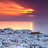 Sunset panorama view of Mykonos city.