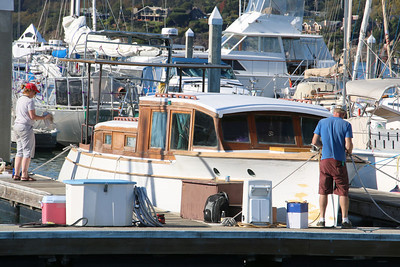 Tending to boats in the Sausalito Marina.