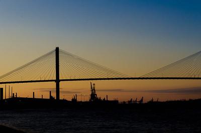 Sunset behind the bridge to SC.