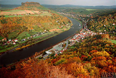 Autumn view from Festung Koenigstein, Saxony