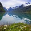 Olden lake and Briksdalsbreen Glacier, Norway
