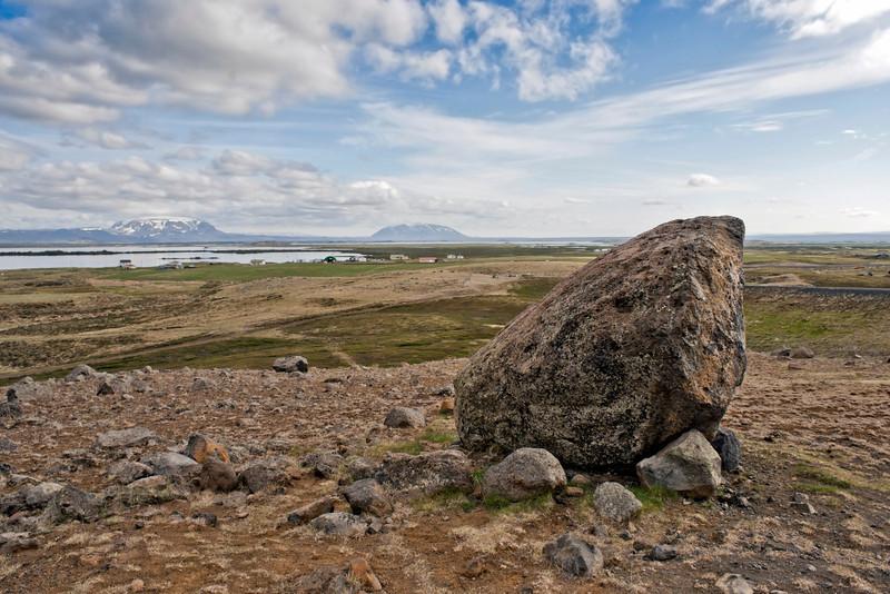 Large boulder near to the Northern town of Akureyri, Iceland.