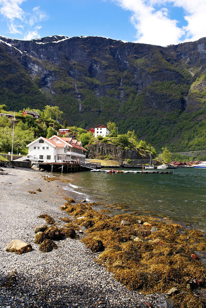 Flam harbour at Aurlandsfjord with Norwegian fjords in the background and pebbeled beach in foreground.