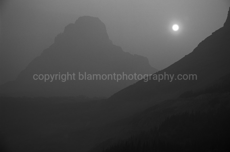 Dirty Ole Mountain, all covered in firesmoke...Greyscale