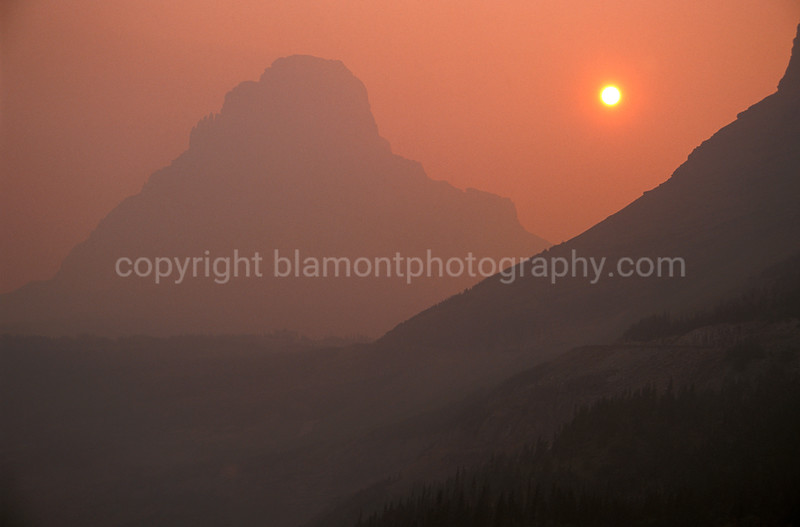 ...Dirty Ole Mountain, all covered in firesmoke. Glacier National Park on Going to tthe Sun Rd.