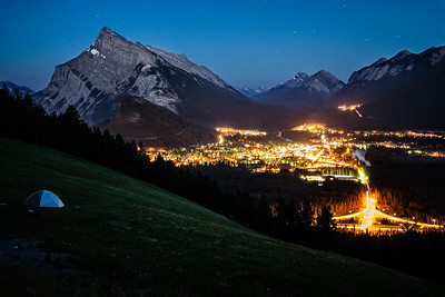 Town of Banff after dark