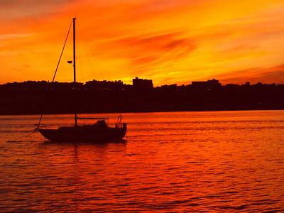 Sunset on Hudson River New York City