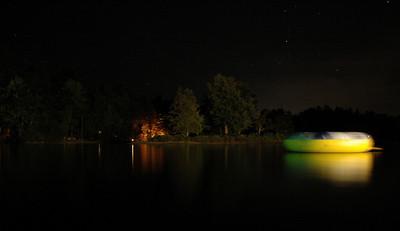 Nighttime scene on a Maine lake