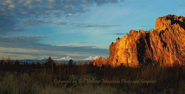 Sunrise with Smith Rocks and the 3 Sisters in the Background