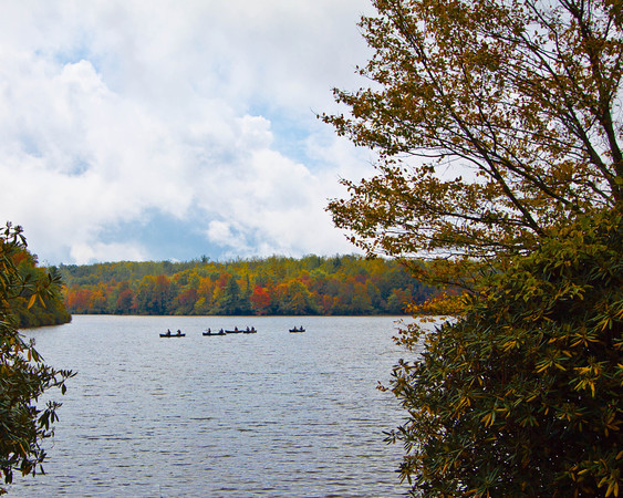 Canoers on the lake at Grandfather Mountain